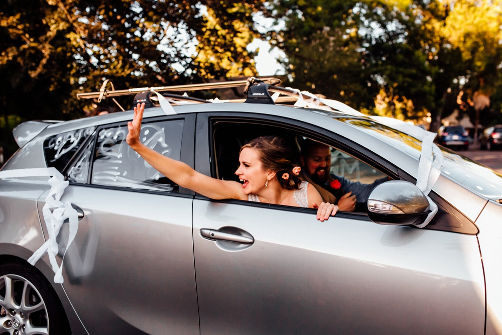Getaway Car Reception Grand Exit Wedding Photographer Fremont California