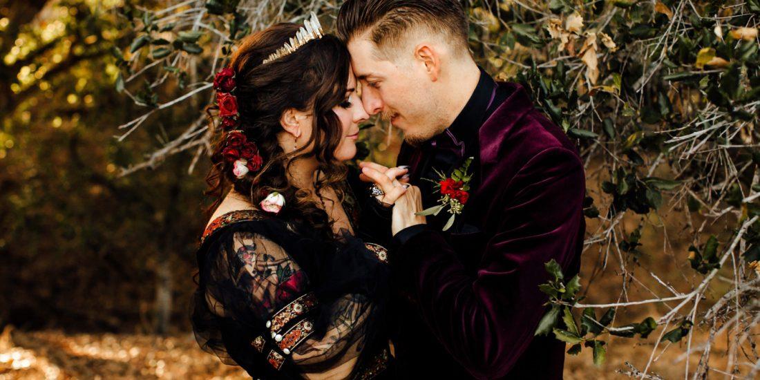 Black wedding gown crown bride