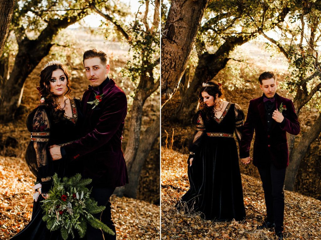 Unique bride and groom style black velvet