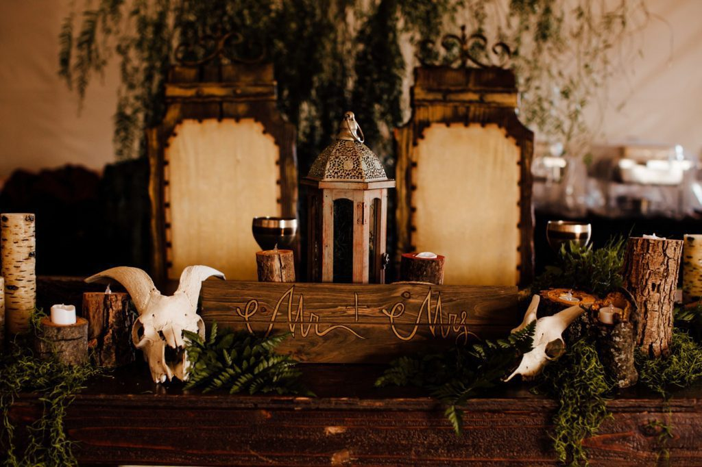 Dark and Moody DIY Pagan Vegan Wedding Photographer Reception Decor Sweetheart table