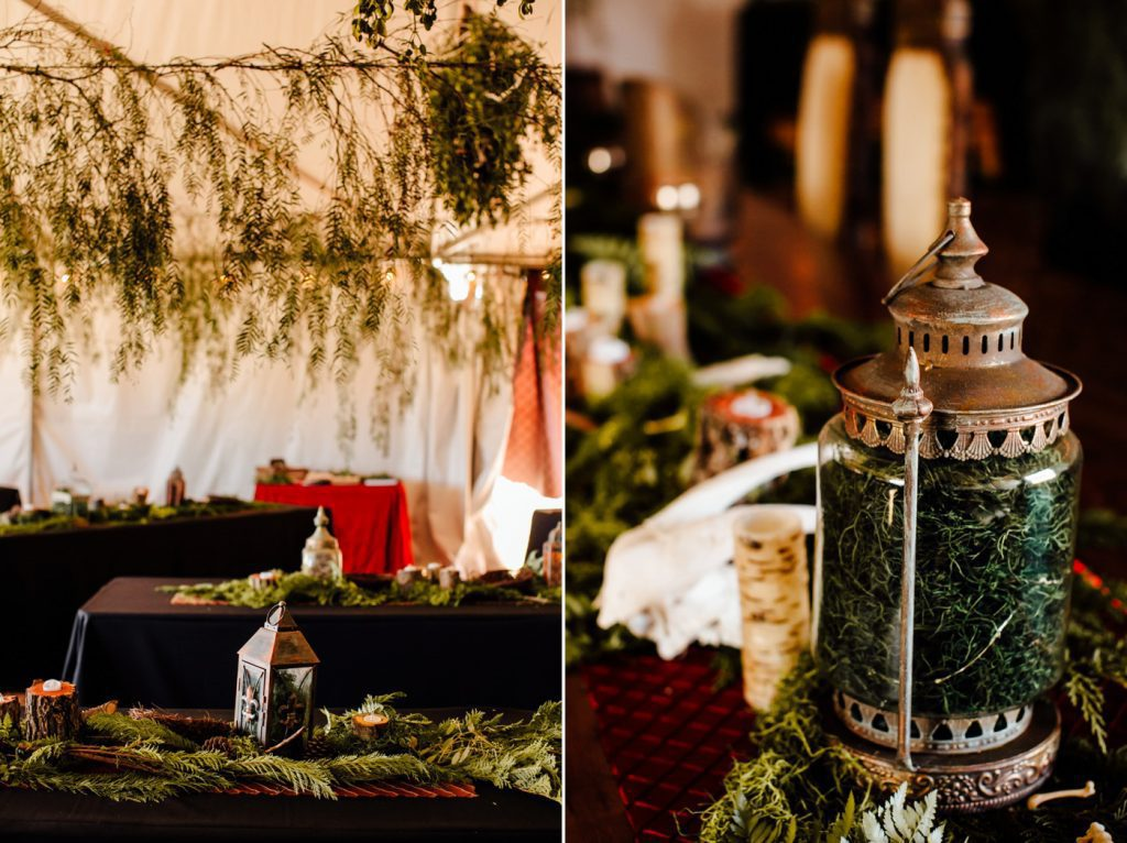 Dark and Moody DIY Pagan Vegan Wedding Photographer Reception Decor