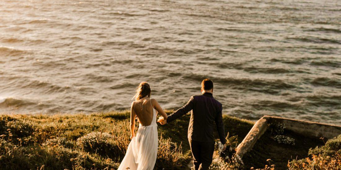 Dark and Moody Romantic Lands End Elopement Photographer Claire Pettibone Dress