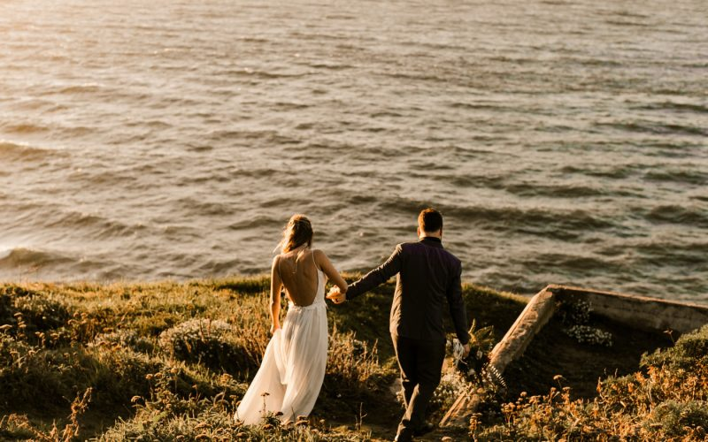 Dark and Moody Romantic Lands End Elopement Photographer Claire Pettibone Dress