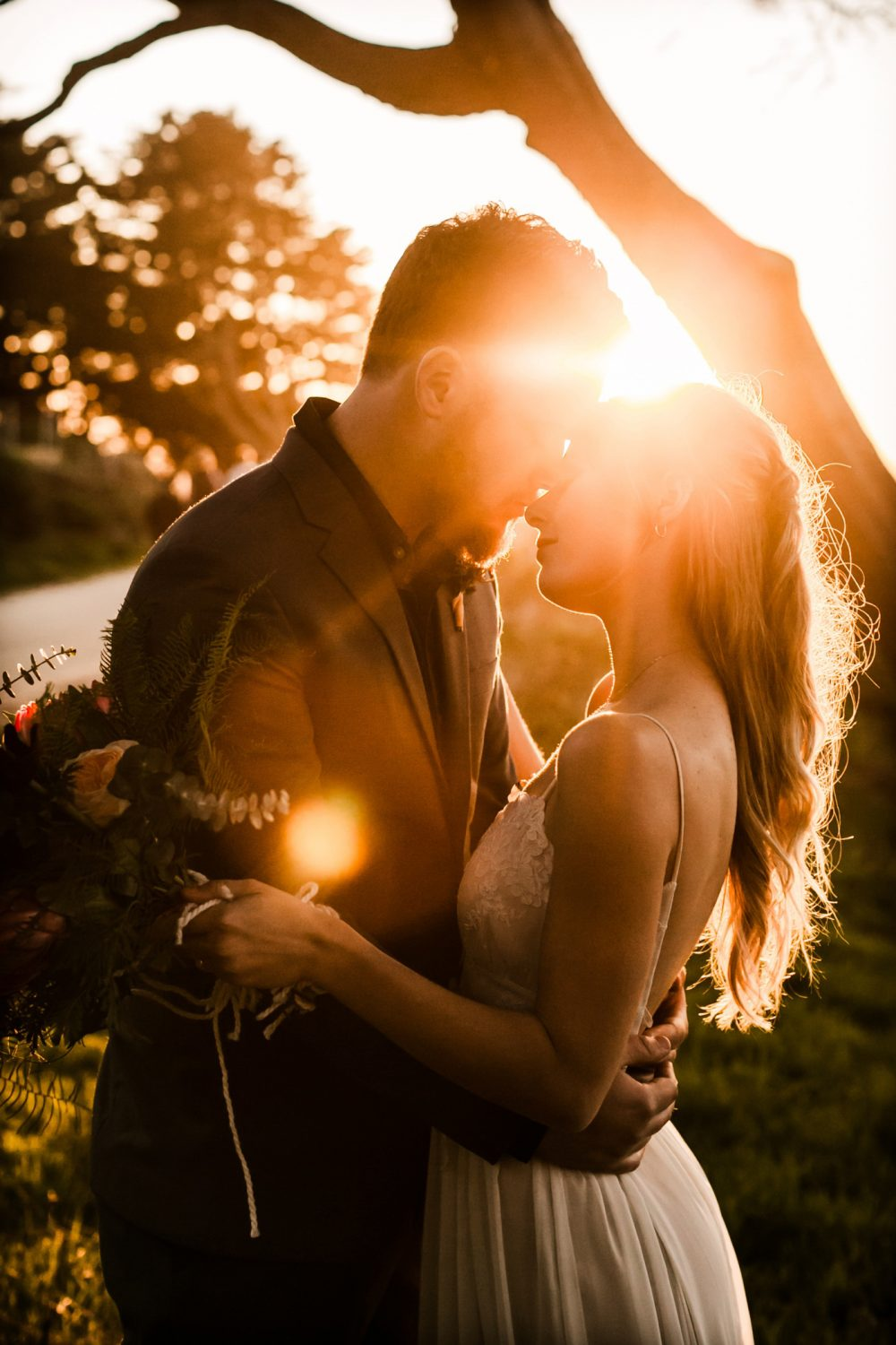 Sunset Dark and Moody Romantic Lands End Elopement Photographer Claire Pettibone Dress