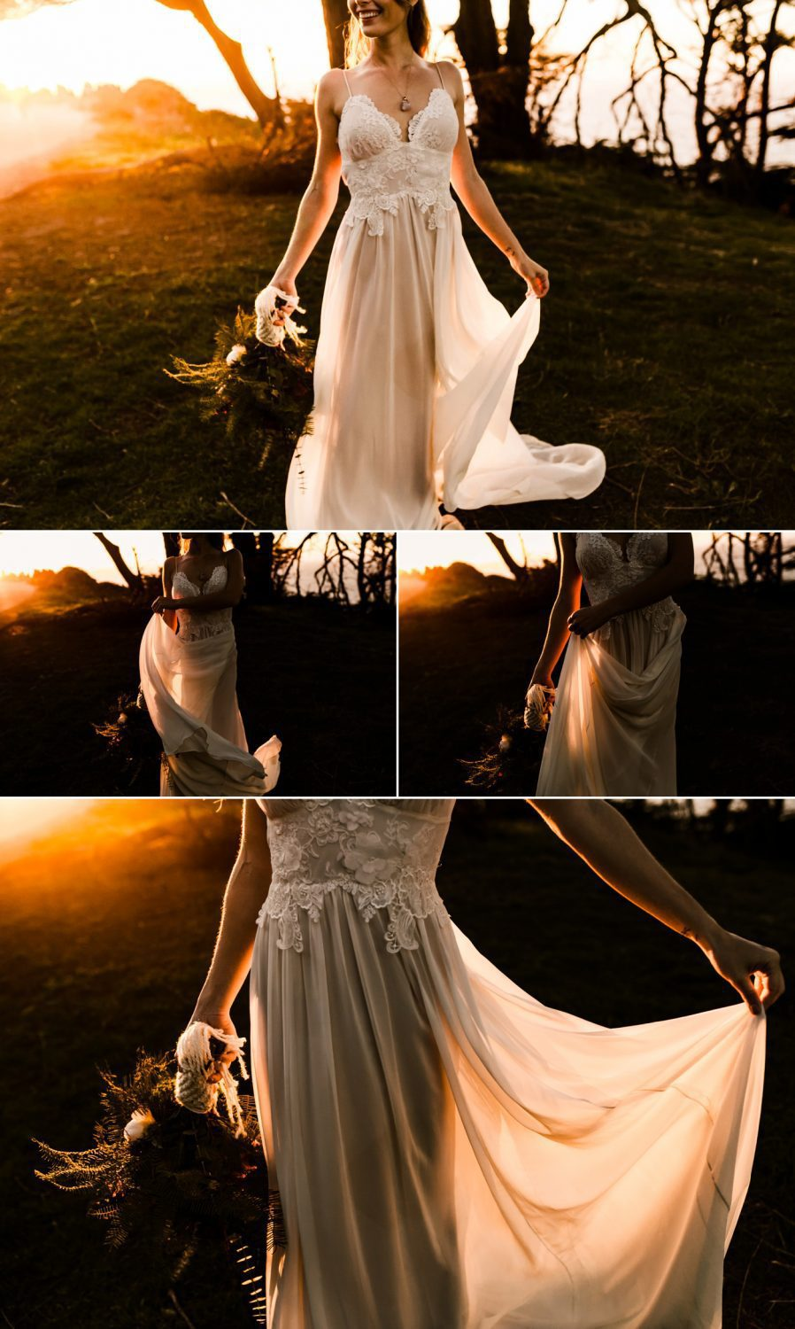 Dark and Moody Romantic Lands End Elopement Photographer Claire Pettibone Boho Bridal Gown