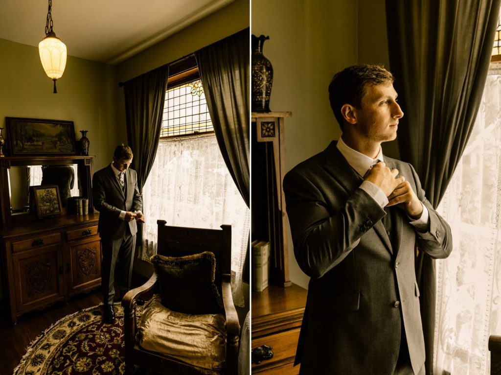 Victorian Belle Wedding Photographer groom getting ready photos