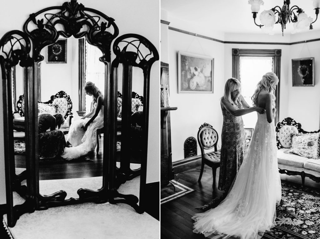 Victorian Belle Wedding Photographer Mom helping bride get ready