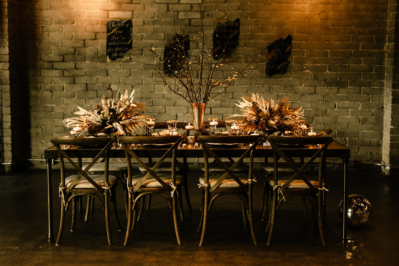 dining table set up celestial styled intimate wedding WithinSodo