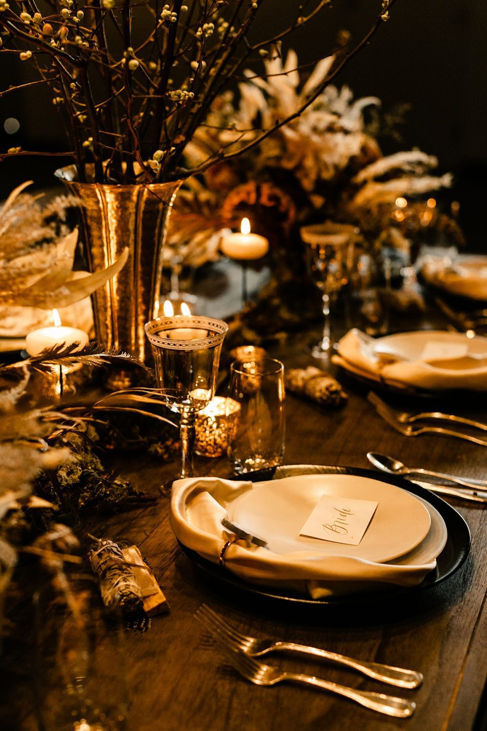 Table set up decor natural warm elements WithinSodo seattle wedding venue photographer