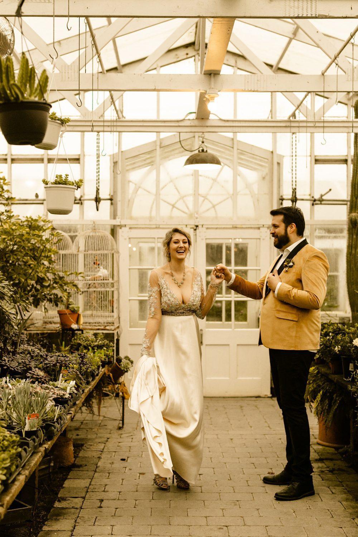 Greenhouse elopement photos Christiansons Nursery wedding photographer