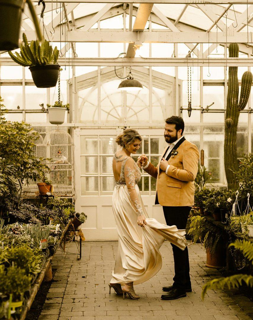 Claire pettibone gown Christiansons Nursery wedding photographer