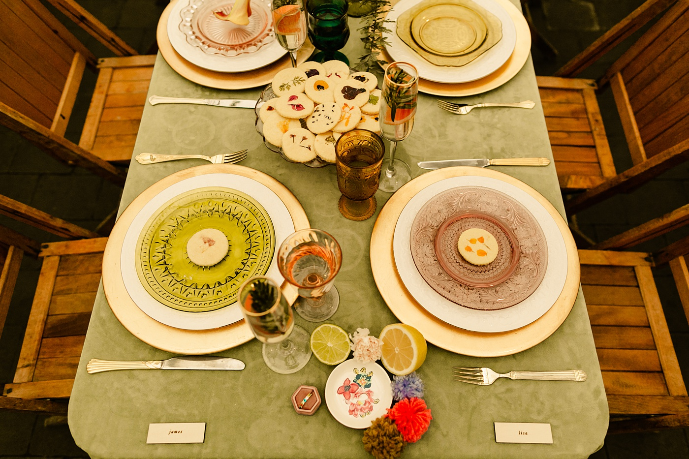 Table design with vintage colorful glassware sage pink