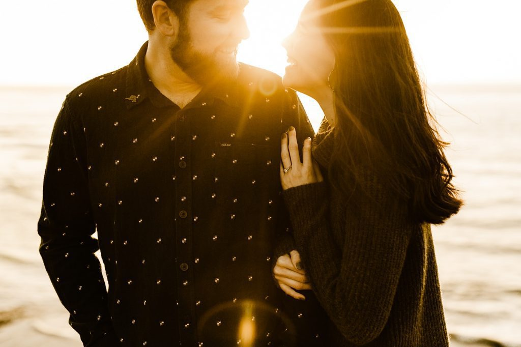 Sunset engagement photo pose idea