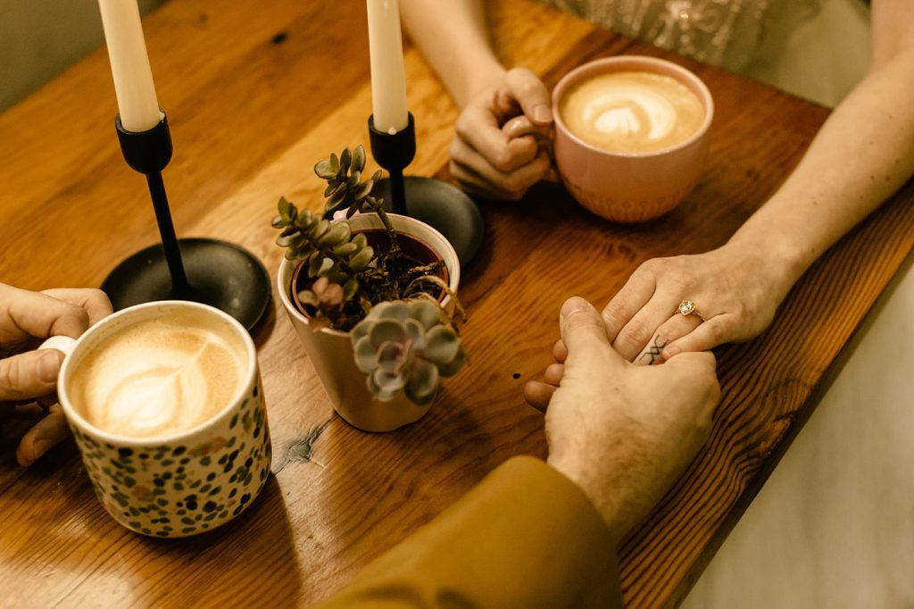 Downtown Portland Coffee Shop Elopement photographer latte art
