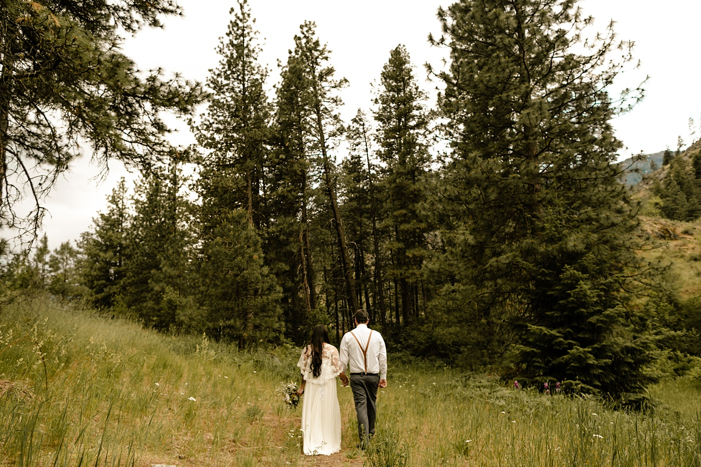 wedding ceremony in the woods, washington elopement photographer