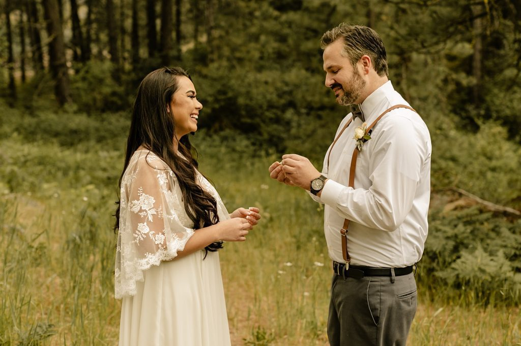 couple leading their own organic wedding ceremony without officiant