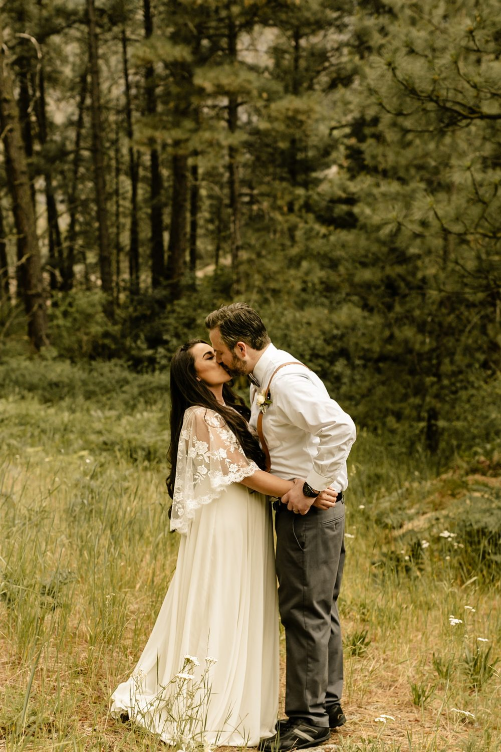 elope out in the PNW mountains, first kiss as married couple, lulus elopement gown