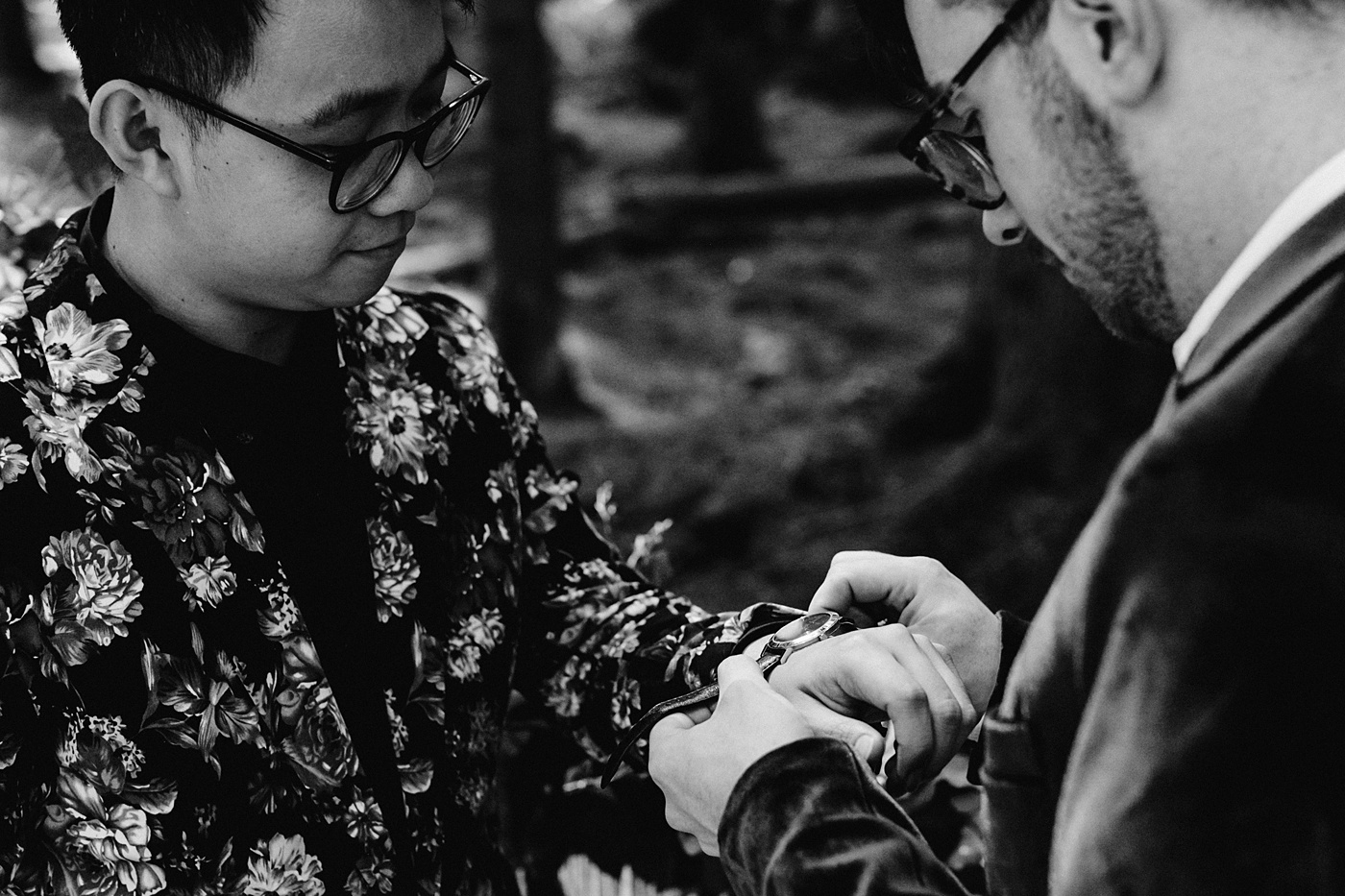 unique elopement ideas exchanging watches rings
