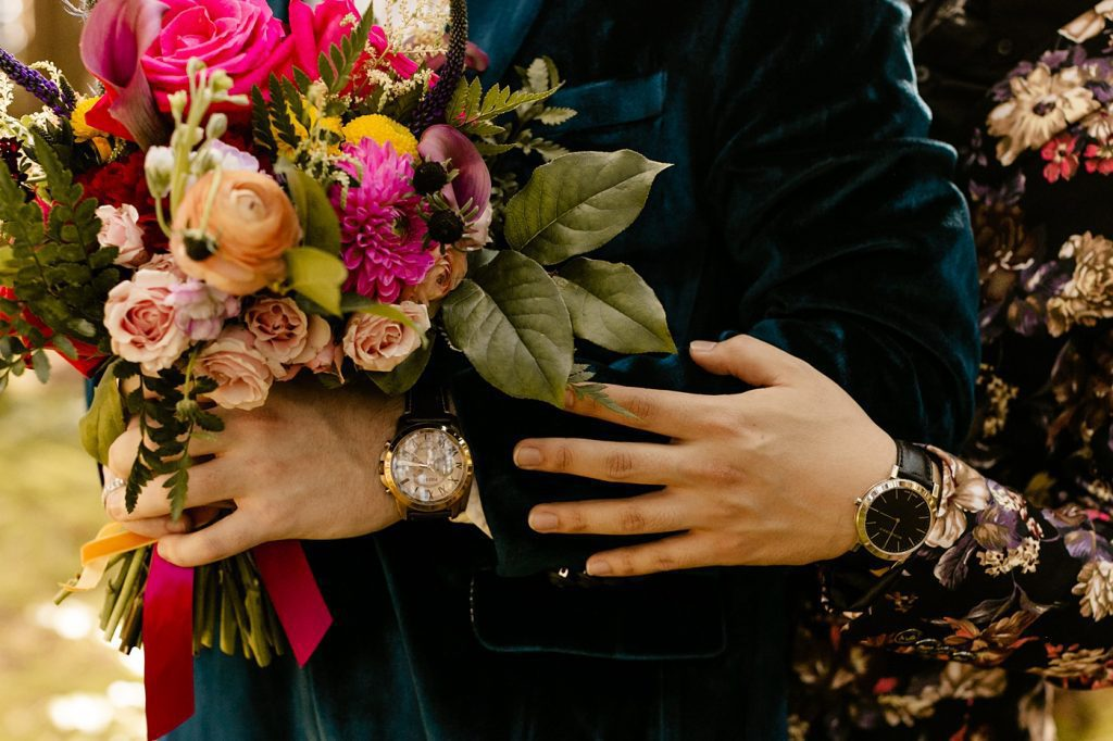 micro wedding ideas colorful florals