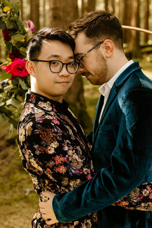 LGBTQ friendly wedding photographer floral suit jacket