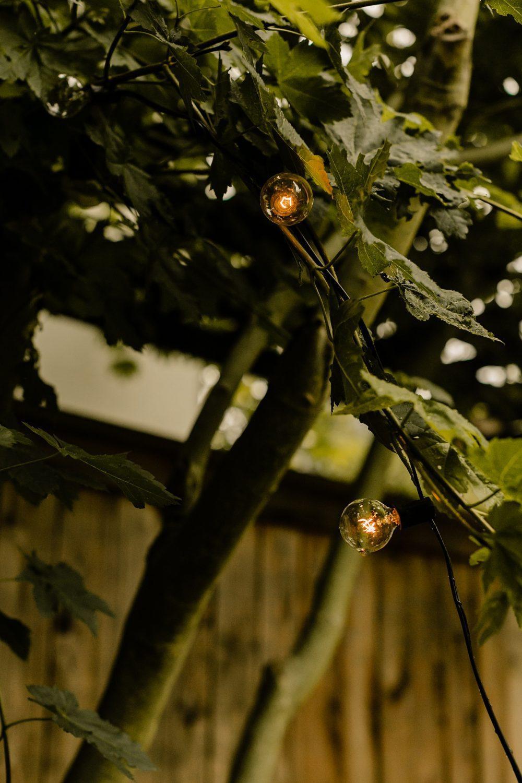 twinkle light detail photos for rainy day backyard wedding