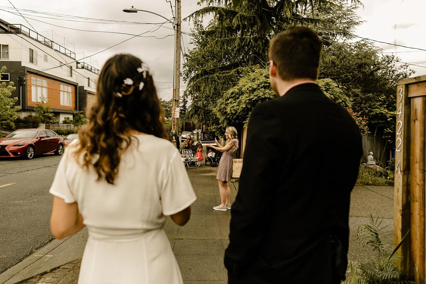 COVID social distance zoom photographer backyard wedding