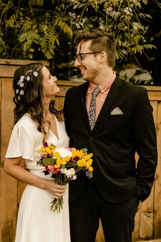 Pike place flower bouquet, seattle Backyard elopement Photographer