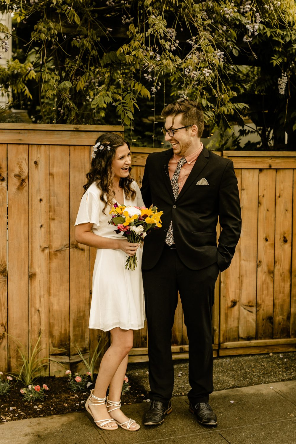 candid elopement photographer simple bridal gown
