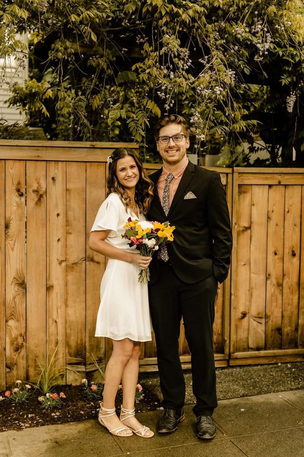 bride and groom style casual backyard elopement