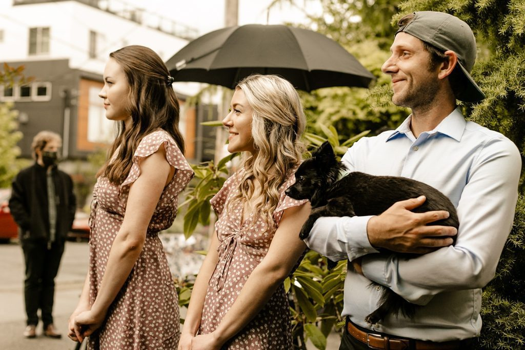 bridal party with dog