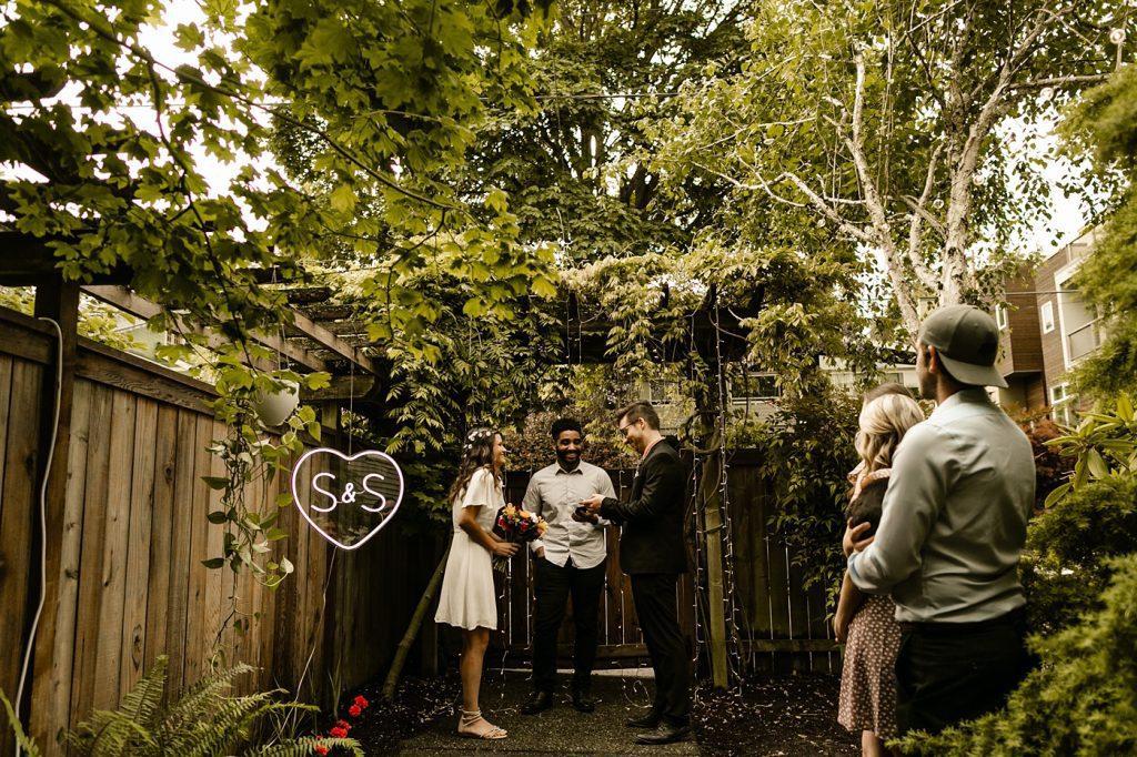 backyard elopement social distancing bridal party