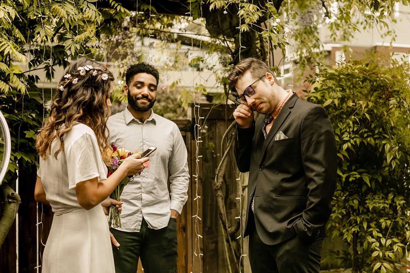 reading personal vows backyard wedding