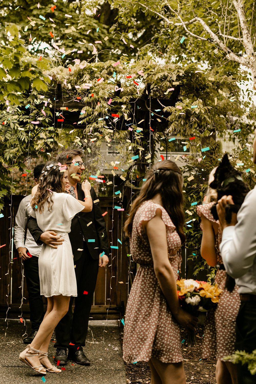 confetti grand entrance backyard wedding