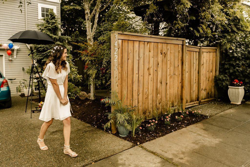 backyard wedding first look candid photographer