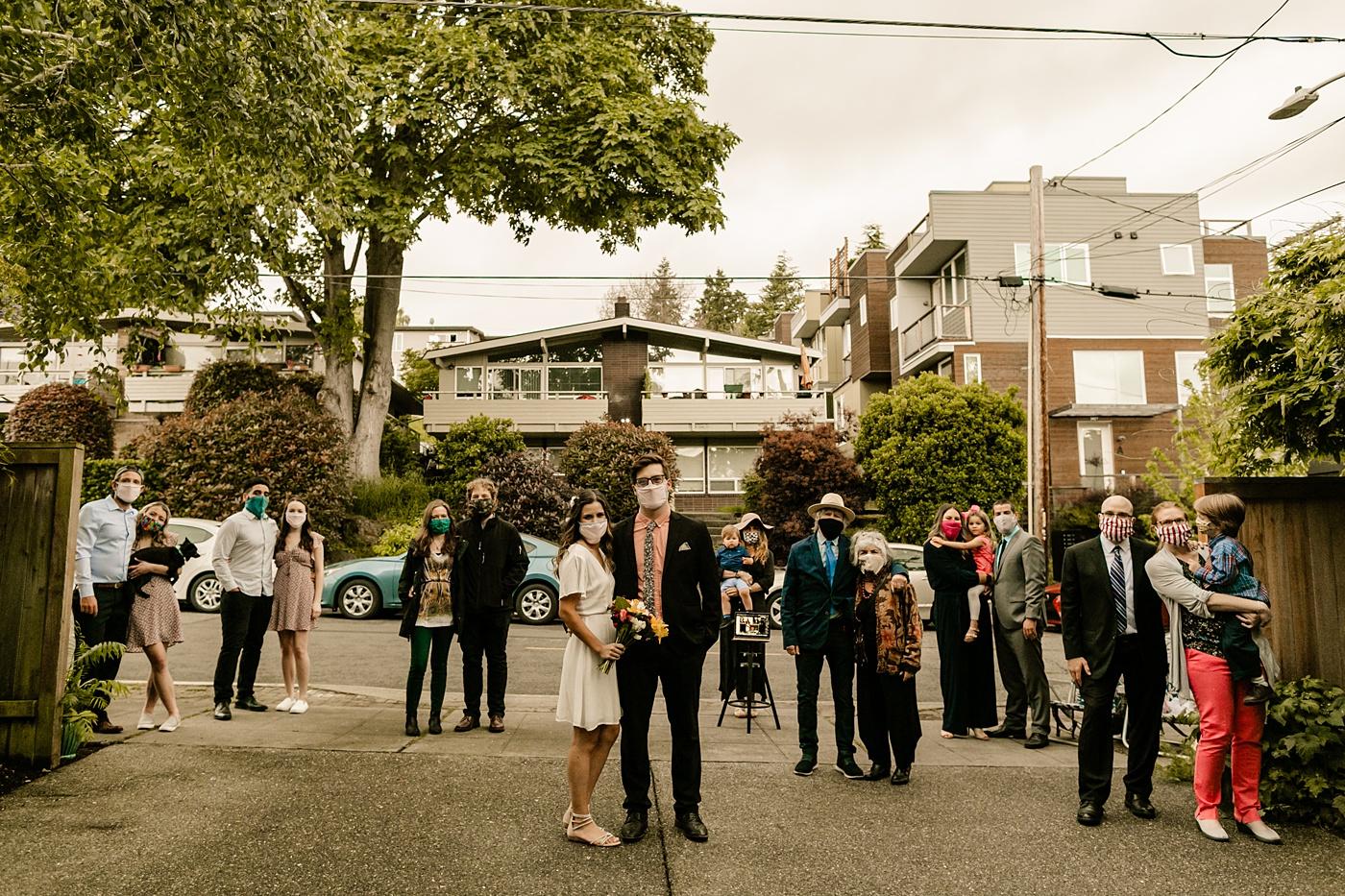 social distanced wedding guests backyard wedding