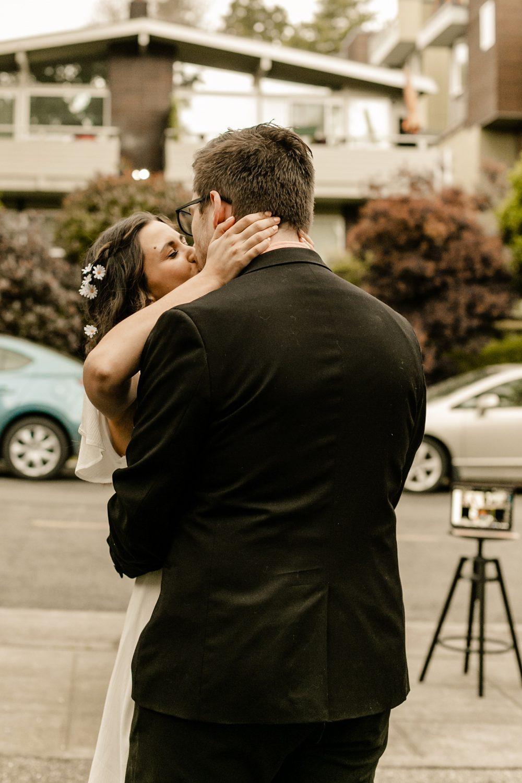 first dance in driveway, backyard wedding ideas