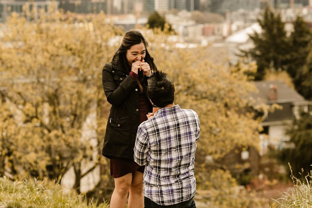 downtown seattle engagement photographer proposal