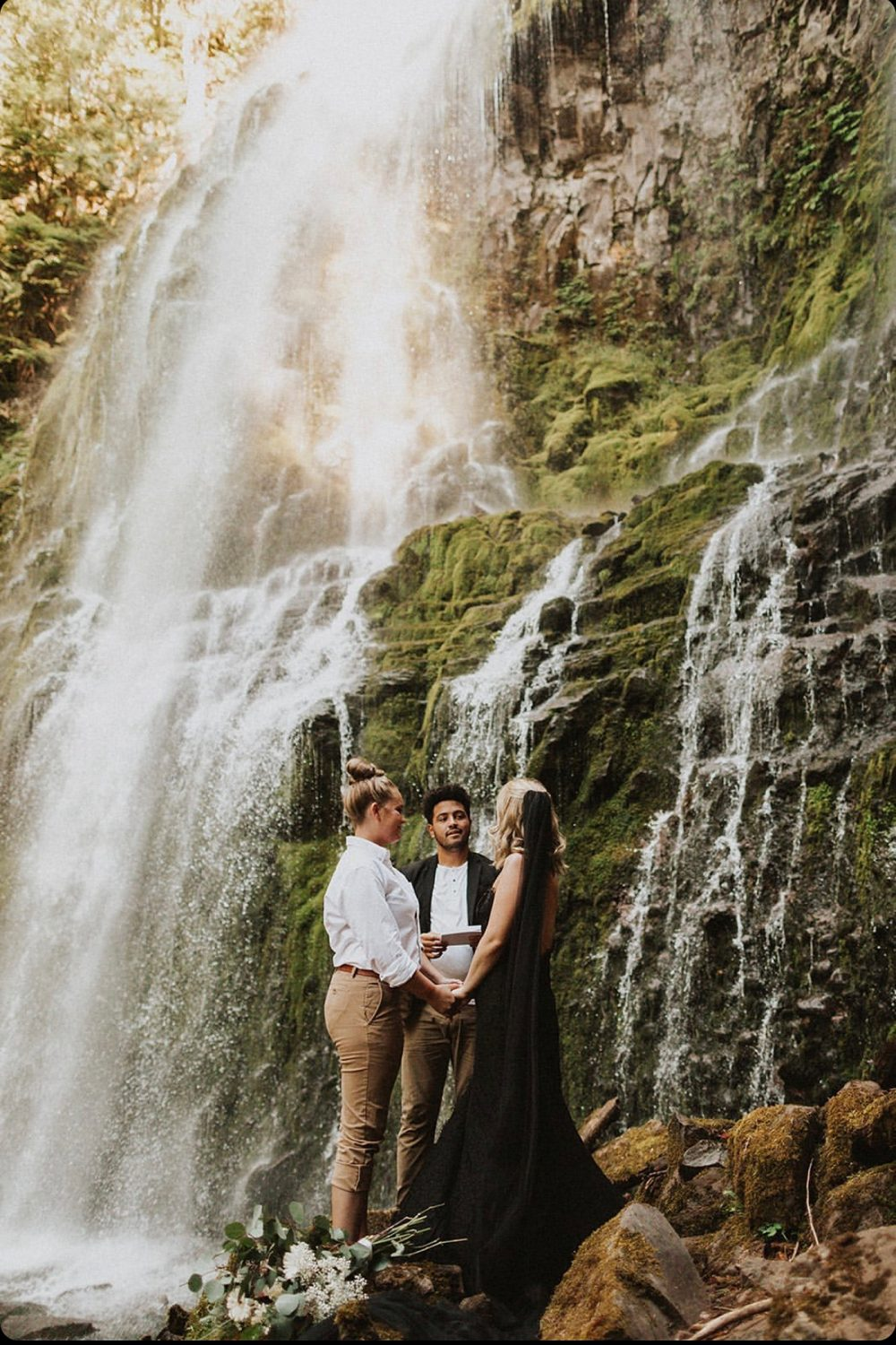 Adventure Elopement Officiant Jimmie waterfall wedding