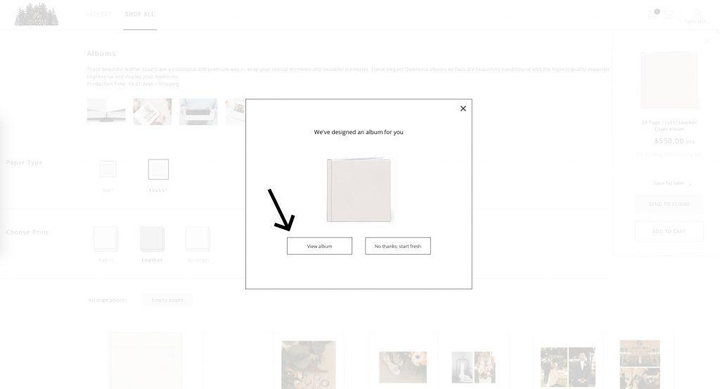 Tutorial to order a PASS album through wedding photo gallery