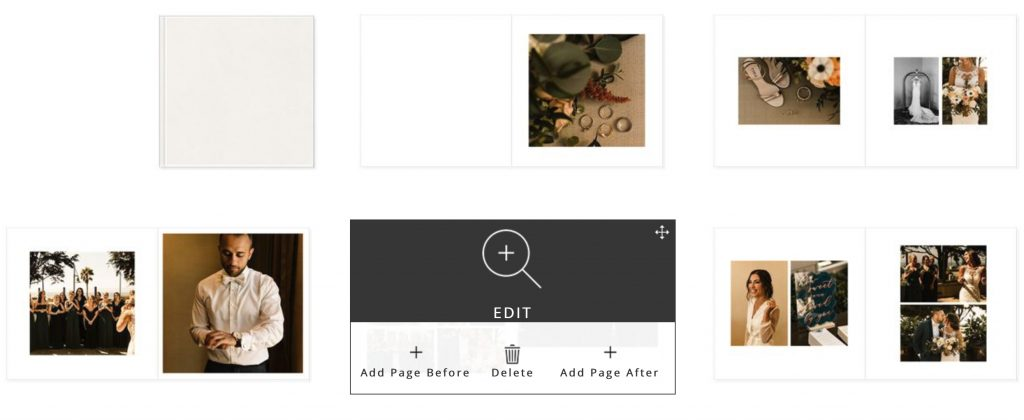 How to edit a page on PASS for custom wedding album