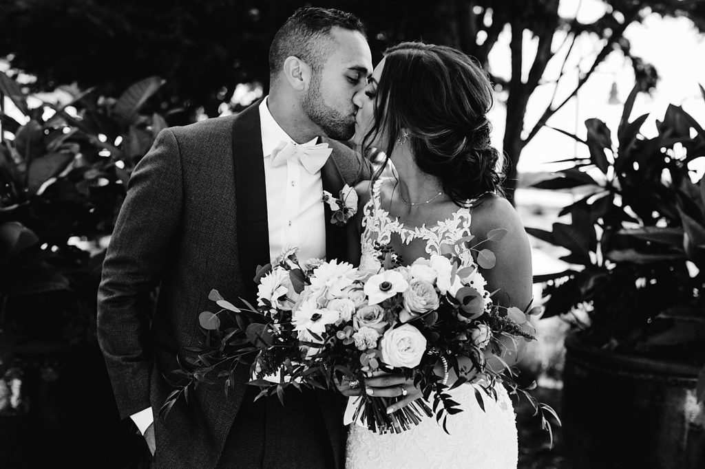 Bride and groom black and white portraits