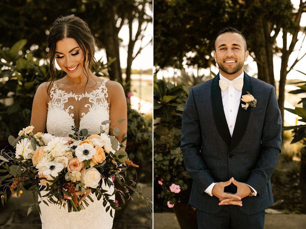 Bride and groom portraits San Diego wedding photographer, navy suit