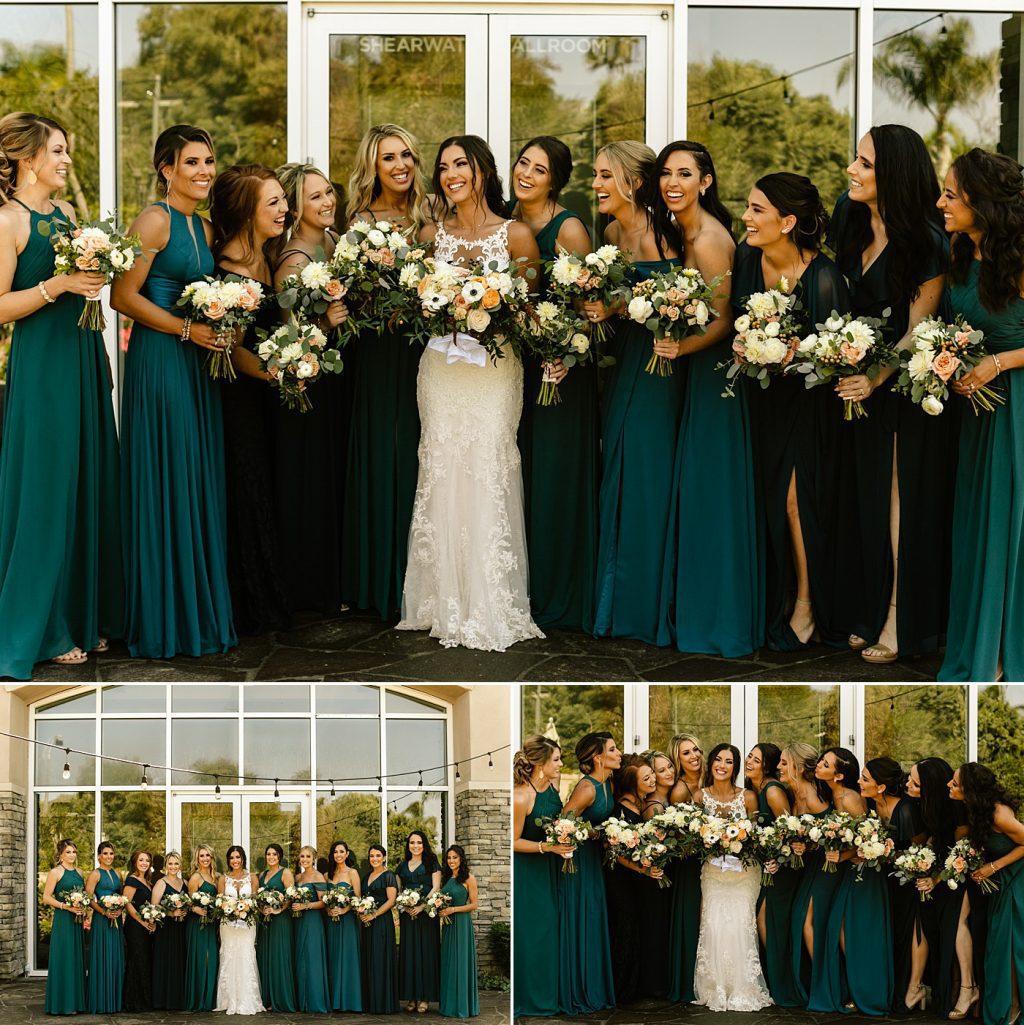 Mismatched bridesmaid dresses, teal, blue, navy