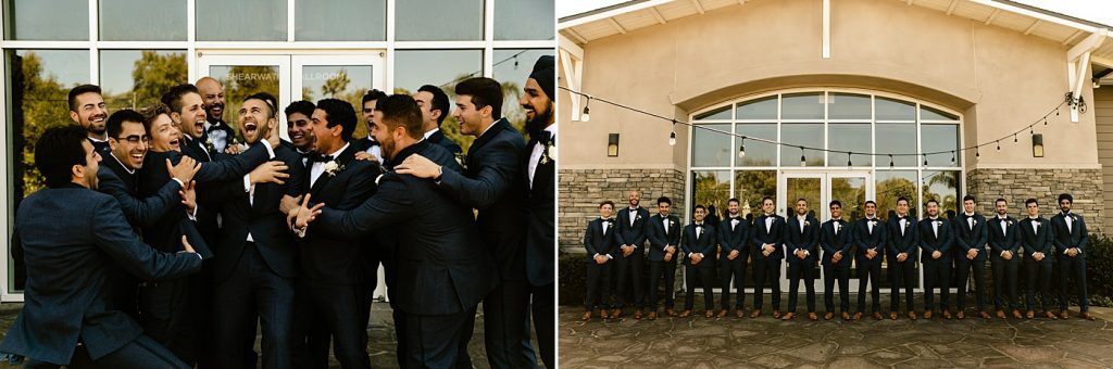 Groom and groomsmen in navy suits, candid and fun bridal party photos