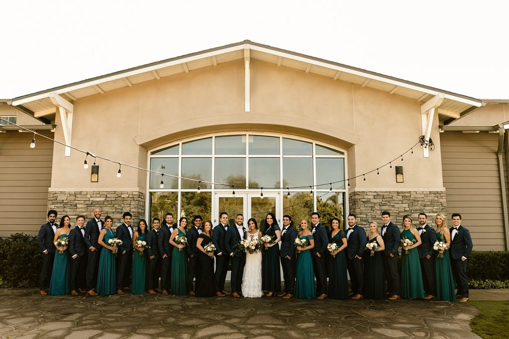 Cape Rey Carlsbad Wedding Photographer bridal party photos, mismatched bridesmaids dresses, teal with navy