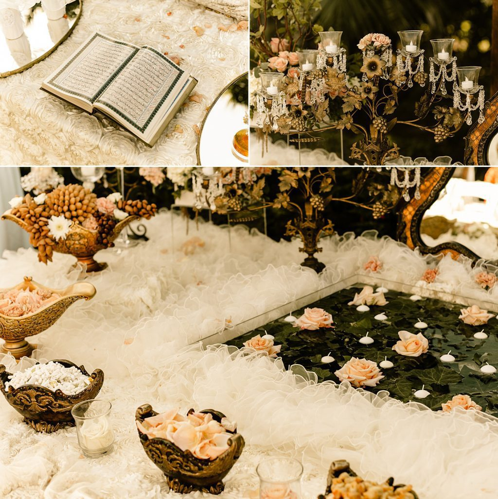 Beautiful detail photos of Sofreh table for traditional Persian ceremony in San Diego, CA
