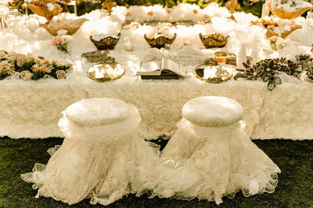 Traditional Persian ceremony Sofreh table details