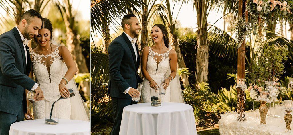 Sand ceremony, candid San Diego wedding photographer
