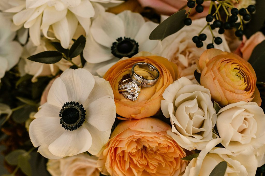 Ruby Bloom wedding bouquet ring shot San Diego Photographer