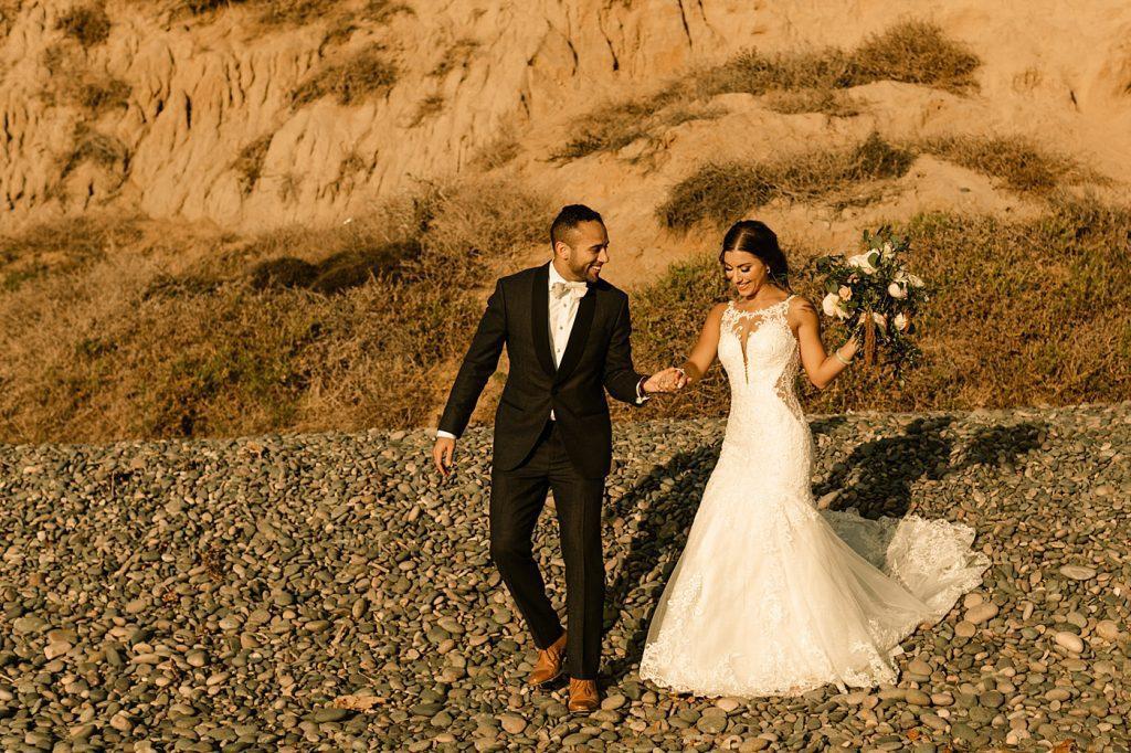 Sunset portrait harsh lighting romantic wedding photographer